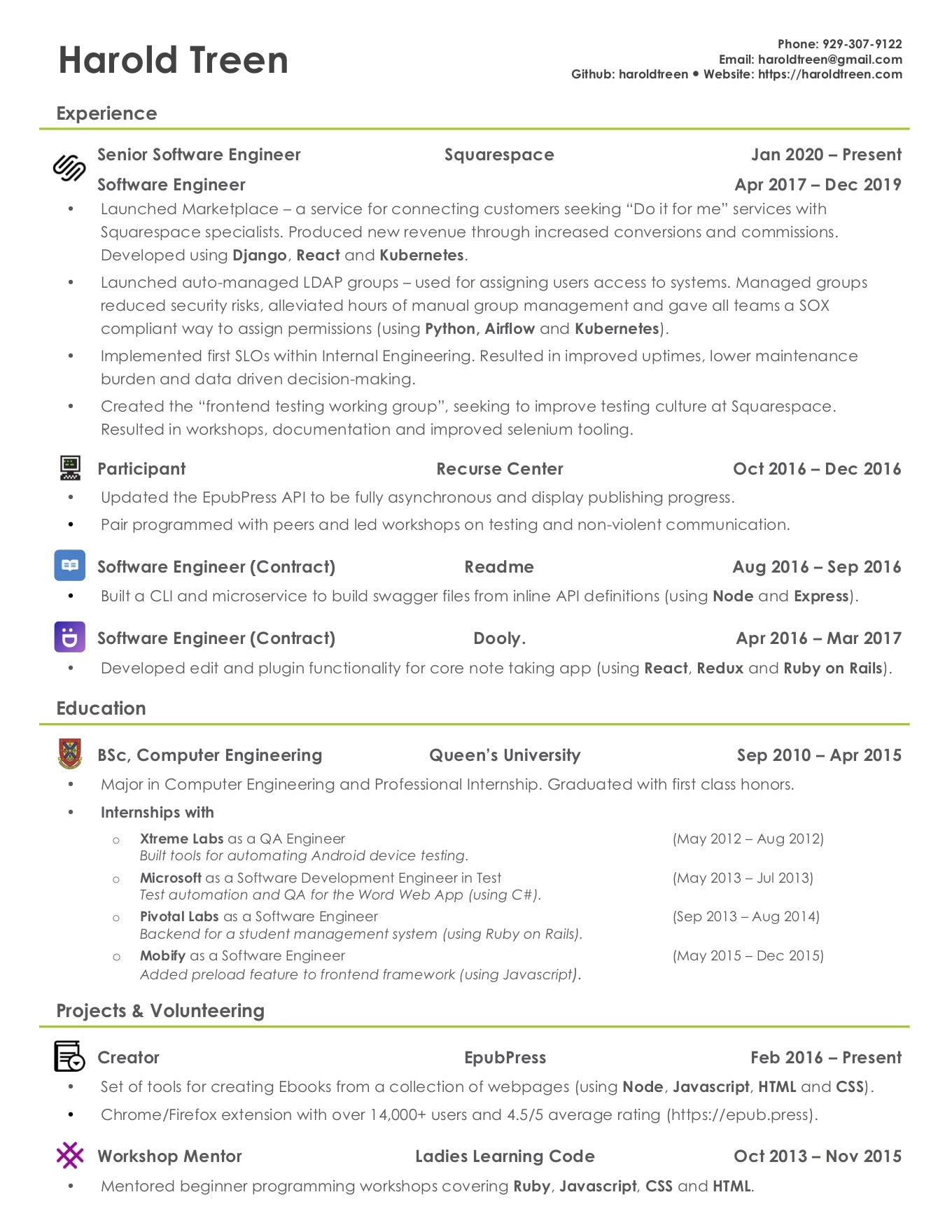 harold treen  u2022 resume