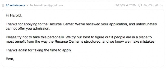RC Rejection Email